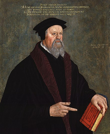 Pietro Martire Vermigli or Peter Martyr greatly assisted Cranmer in the English Reformation. Portrait by Hans Asper, 1560. Pietro Vermigli by Hans Asper.jpg