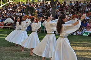 Dance in Israel - Israeli folk dancing on the Jewish holiday of Shavuot at Kibbutz Gan-Shmuel