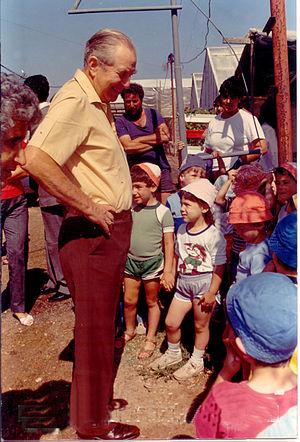 Beit Yitzhak-Sha'ar Hefer - President Chaim Herzog visiting Beit Yitzhak in 1959