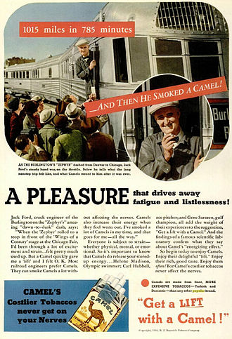 Pioneer Zephyr - Cigarette ad showing the train and describing the run in 1934