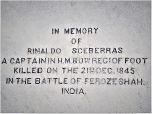 India–Malta relations - A plaque at Upper Barraka Gardens in the Maltese capital Valletta in memory of Rinaldo Sceberras, a Maltese Captain who was killed in Battle of Ferozeshah, India on 21st December 1845