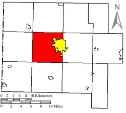 Location of Pleasant Township (red) in Van Wert County, next to the city of Van Wert (yellow)