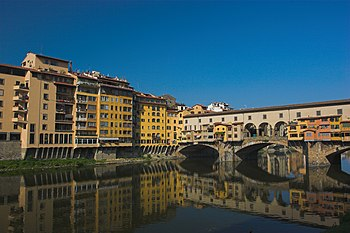Ponte Vecchio and bank of Arno in Florence, It...