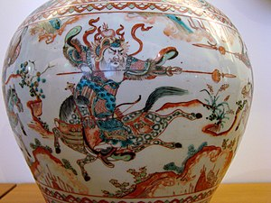 History of the Ming dynasty - A Ming porcelain jar with a scene of cavalrymen fighting, from the reign of the Jiajing Emperor (1522–1566), Musée Guimet, Paris.