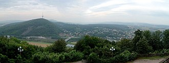 Porta Westfalica - View over Porta Westfalica to the Weser hills