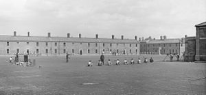 Cathal Brugha Barracks - Drills on the barracks' square (then known as Portobello Barracks) early in the 20th century