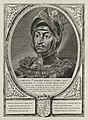 Portret van Karel de Stoute, hertog van Bourgondië, in een harnas met een helm met pluimen. Op zijn helm een kroon. Om zijn hals een keten met het ordeteken van de orde van het gulden vlies. NL-HlmNHA 1477 53012924.JPG