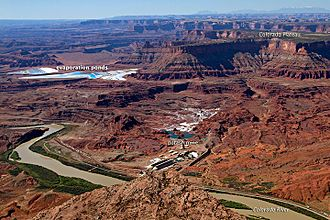 Moab, Utah - Potash mine and evaporation ponds (blue) near Moab in 2011. The water is dyed blue to speed evaporation.