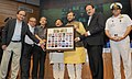 "Prakash Javadekar presented the portraits of Param Veer Chakra heroes to the Vice Chancellors of Universities, at the inauguration of the ""VIDYA, VEERTA ABHIYAAN"", in New Delhi.jpg"