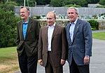 President George W. Bush and former President George H. W. Bush stand with Russian President Vladimir Putin.jpg