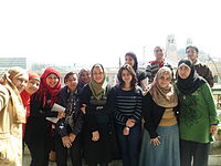 Prof. Abeer Abd El-Hafez and her group with Faris El-Gwely.JPG