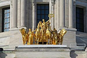 Progress of the State - The Progress of the State quadriga at the base of the Minnesota State Capitol dome.