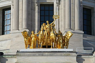 Progress of the State - The Progress of the State quadriga at the base of the Minnesota State Capitol dome.
