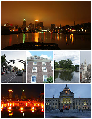 From top left: Downtown Providence skyline and the Providence River from the Point Street Bridge, Federal Hill, University Hall at Brown University, Roger Williams Park, the First Baptist Church in America, WaterFire at Waterplace Park, and the Rhode Island State House.