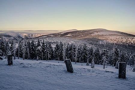 Przełęcz Karkonoska (Karkonosze pass, Slezské sedlo, Spindlerpass) - view from Odrodzenie hostel. Krkonoše mountains