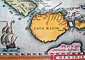 """Ptolemaic great southern continent of """"Beach"""" below Java Major, and a handsome ship.jpg"""
