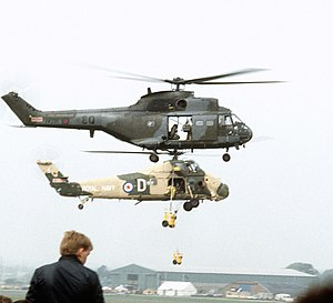 845 Naval Air Squadron - Image: Puma HC1 Wessex HU5 Farnborough 1982