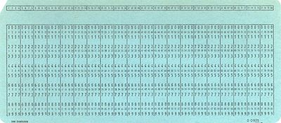 A typical blank punch card of the type used to store data.