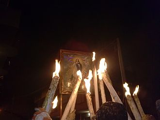 Immaculate Conception - the procession of the Quadrittu of the Immaculate Conception taken on 7 December in Saponara, Sicily