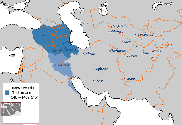 Kara Koyunlu of the Turkomans, lighter blue shows their greatest extent in Iraq and Arabian East Coast for a small period of time