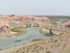 View of the San Juan River (Argentina) and the surrounding arid landscape