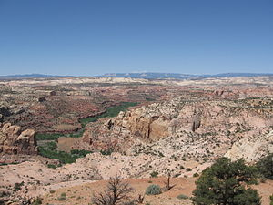 Escalante River - Escalante River gorge upstream from its confluence with Boulder Creek. The Aquarius Plateau is visible on the skyline.