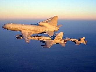 Lockheed TriStar (RAF) - A TriStar K1 (ZD951) refuelling USN F-18s over Afghanistan, October 2008