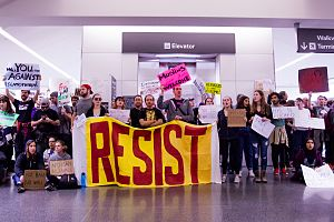 "Civil resistance - ""RESIST"" sign at protest, San Francisco International Airport, Jan 29, 2017"