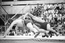 RIAN archive 556230 Olympic champion in classic wrestling, 57kg division, Shamil Serikov and silver medalist of the 1980 Olympiad Jozef Lipien.jpg