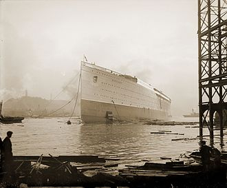 RMS Mauretania (1906) - Mauretania after being launched, 20 September 1906