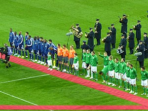2009 Republic of Ireland v France football matches - The Republic of Ireland and France teams lining up before the first leg at Croke Park.