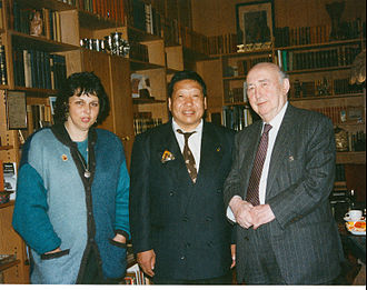 Akong Rinpoche - Lea and Veit Wyler with Akong Rinpoche- the three founders of ROKPA International