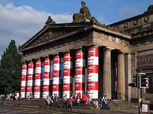 Royal Scottish Academy - The North portico, specially decorated for an Andy Warhol exhibition on the 20th anniversary of the artist's death