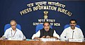 Radha Mohan Singh briefing the media about the initiatives and achievements of the ministry, in New Delhi. The Minister of State for Agriculture and Food Processing Industries, Dr. Sanjeev Kumar Balyan and the Secretary.jpg