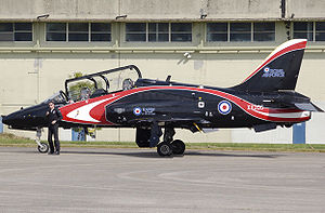 Hawker Siddeley - Royal Air Force Hawker Siddeley Hawk T.1A, with its pilot. This aircraft, used for aerobatic displays, is in a special colour scheme.