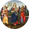Raffaellino del Garbo - Mary with child and two angels playing music - Gemäldegalerie Berlin.png