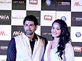 Rana and Anushka at Baahubali trailer launch.jpg