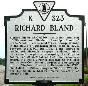Richard Bland - Virginia Dept. Historic Resources sign at Jordan Point near the burial place of Richard Bland, on the south bank of the James River near Hopewell Virginia.