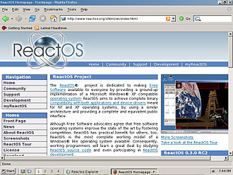 ReactOS - ReactOS 0.3 running the Firefox web browser