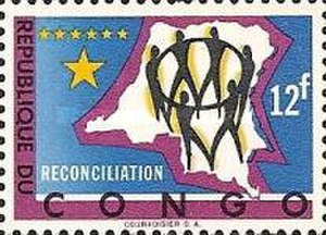 "Free Republic of the Congo - A 1963 postage stamp commemorating the ""reconciliation"" of the political factions in the Congo after the end of the secessions in Katanga and South Kasai as well as in the east"