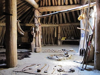 Earth lodge - Earth lodge interior recreated in the historic Mandan town On-a-Slant, Fort Abraham Lincoln State Park, North Dakota