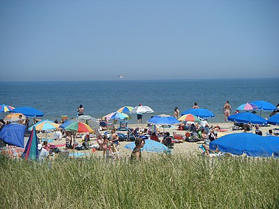 Rehoboth Beach is a popular vacation spot during the summer months. Rehoboth Beach at Delaware Avenue.JPG
