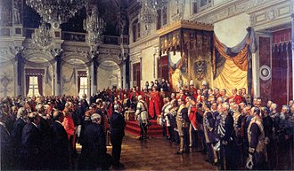 Speech from the throne - Emperor Wilhelm II opening the German Reichstag in the White Hall of the Berlin Palace, 1888. Painted by Anton von Werner.