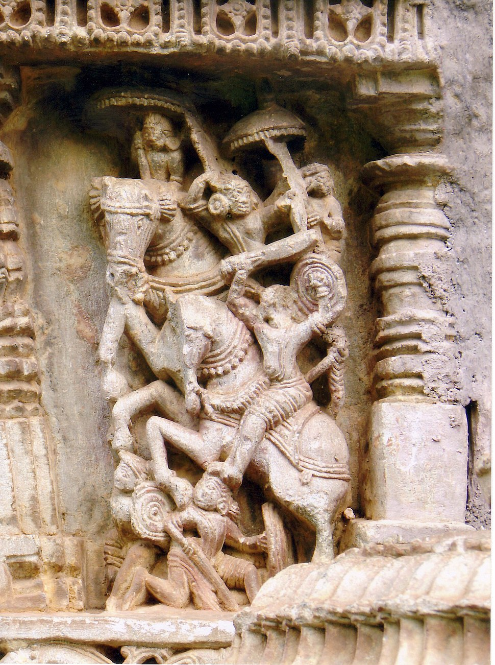 Relief depicting battle scene in the Amruteshvara Temple at Amruthapura in Chikkamagaluru district