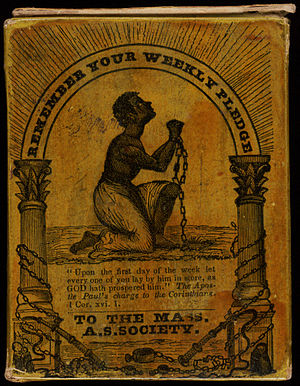 Massachusetts Anti-Slavery Society - Remember Your Weekly Pledge, collection box for Massachusetts Anti-Slavery Society. Set aside in the home, the box was designed to remind members to make their weekly contribution. Circa 1850