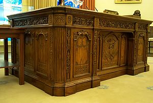 Partners desk - Model of the ''Resolute'' desk in the recreated Oval Office at the Jimmy Carter Library and Museum.