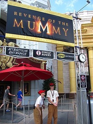 Universal Orlando - Revenge of the Mummy features a line for Universal Express Pass