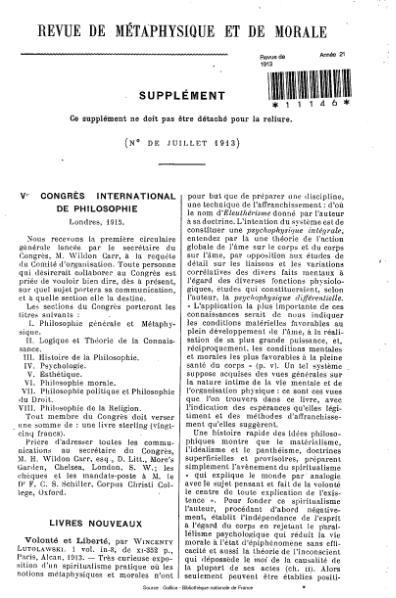 File:Revue de métaphysique et de morale, supplément 4, 1913.djvu