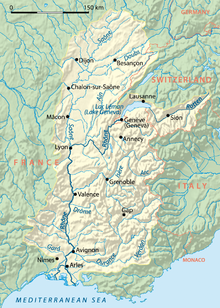 Drainage basin of the Rhône.