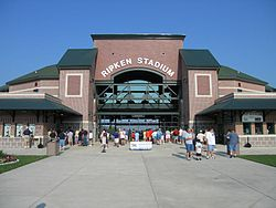 The entrance of Ripken Stadium.